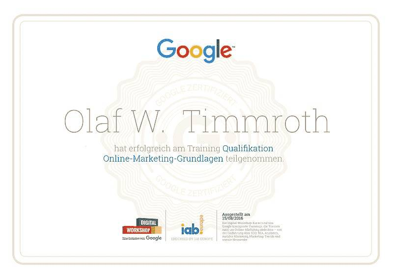 Google Digital-Workshop Zertifikat Online-Marketing